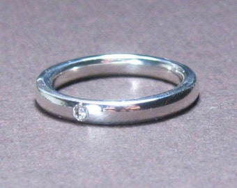 Diamond Wedding Band, Sterling, Flush set, unisex, conflict free, stackable, Made to Order