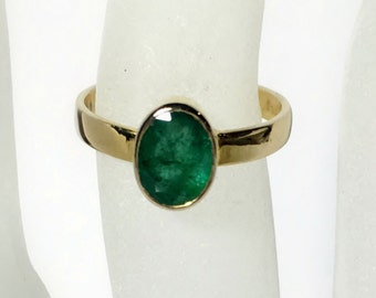 Emerald Ring 14k Gold, Size 6, Birthstone Ring, Natural Emerald Gemstone, wide band, low profile, Ready to Ship