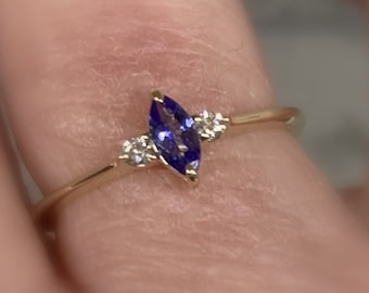 Tanzanite Ring, Side Diamonds, Size 7, 14k Gold Marquise Gemstone, Prong Setting, Unique Engagement, Anniversary Ring, Birthstone