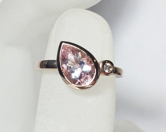 Morganite Diamond 14K Gold Gemstone Ring, White, Yellow, or Rose Gold, Made to Order, Aquamarine and Moissanite also available