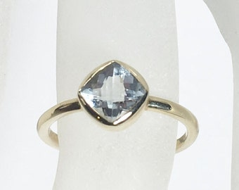 Aquamarine 14K Gold, Made to Order, Yellow Gold, low profile, non traditional, white topaz, garnet, amethyst also available