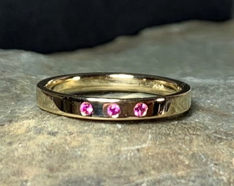 Pink Sapphire Band, Size 7, Stacking Ring, 14k Yellow Gold Wedding Band, Birthstone Ring
