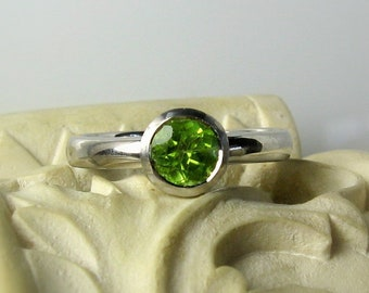 Peridot Sterling Silver Birthstone Ring, Size 5.75, Ready To Ship, Bezel Setting