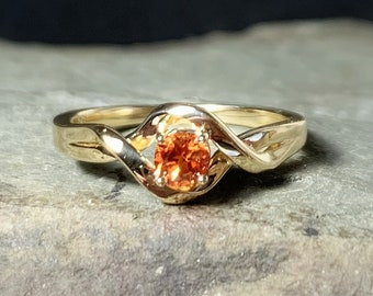 Padparadscha Sapphire 14K Gold Solitaire Ring, Chatham Sapphire Engagement, Non Traditional Engagement