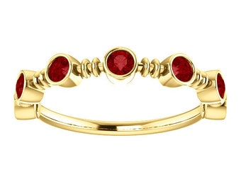 Ruby 14K Gold Anniversary Ring, Bezel Gemstone Band, Alternative Engagement, Rose Gold