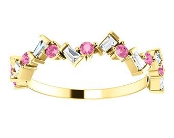 Baguette Diamond Sapphire Anniversary Band 14K Gold Ring, Pink Sapphire, Baguette Diamonds, 14K/18K Gold