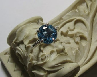Blue Topaz Solitaire Cocktail Ring 14K Gold Gemstone Ring, Cocktail, Rope Band, Prong, Bella, Made to Order