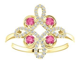 14K Gold Tourmaline Diamond Unique Engagement Ring, Low Profile, Floral