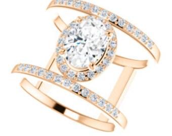 Moissanite Diamond Double Band Ring, 14K Rose Gold Statement Ring