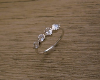 White Topaz Multi Stone Ring, Sterling Silver Gemstone Band, Pear, Oval, Round, Bezel Ring