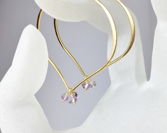 Large Gold Hoop Earrings, Pastel Amethyst Lotus Ear Wires