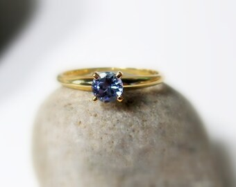 14K Gold Tanzanite Ring, Size 7.5, Classic Solitaire Ring, Yellow Gold, Prong Set, Tanzanite Promise Ring