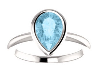 14K Gold Aquamarine 7x5mm Pear Gemstone Ring, Tear Drop Engagement, March Birthstone