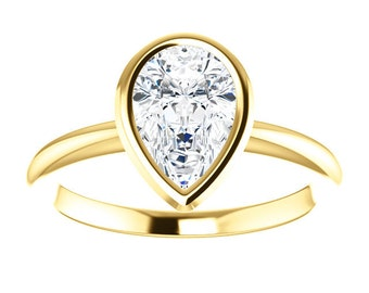 """Moissanite Engagement Ring - 14K Gold Pear, """"Forever Brilliant"""" Gemstone, Made to Order, rose gold,white gold,yellow gold"""