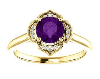 Amethyst Diamond 14K Rose Gold Vintage Floral Style Halo Engagement Ring, February Birthstone, Non Traditional