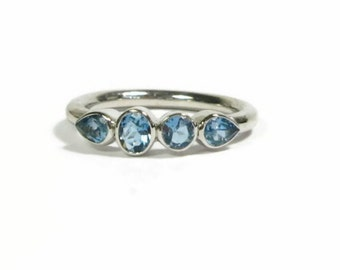 Aquamarine Gemstone Band, Sterling Silver Birthstone Ring, 4 Stone Ring, Low Profile