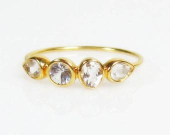 White Topaz 14K Gold Ring, Multi Stone, Ready to Ship Size 5.75, Low Profile, Anniversary Band