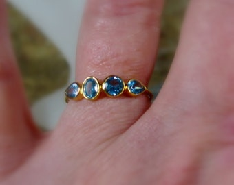 Blue Topaz Ring, 14K Gold, Art Deco, Multi Stone, Low Profile, Birthstone Band, Non Traditional Wedding