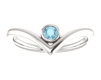 "Aquamarine Chevron Stacking Ring, Birthstone, Gifts for Her, Bezel Set ""V"" Ring, Sterling Silver or 14K Gold"