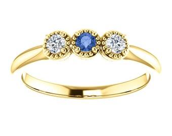 Ceylon Blue Sapphire Forever One Moissanite Ring, 14K Gold, Low Profile, 3 Stone Ring