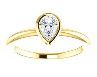 Pear Diamond Ring, 14K Gold, April Birthstone, Low Profile, Gifts for Her, Non Traditional
