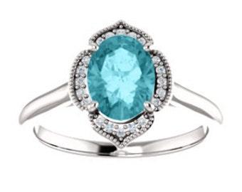 Blue Zircon Diamond 14K White Gold Vintage Floral Style Halo Engagement Ring, Oval Gemstone