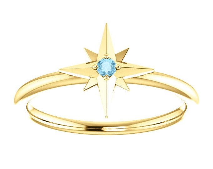 Featured listing image: Aquamarine Birthstone Ring, 14K Gold Star Stacking Ring, March Birthstone