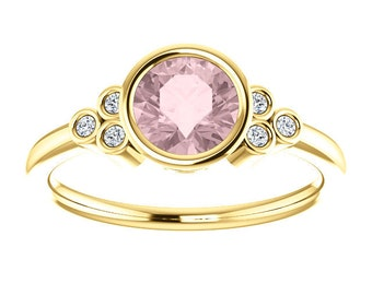 Pink Morganite Diamond Bezel Ring, Non Traditional Engagement, 14K Yellow, White, Rose Gold