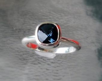 London Blue Topaz 14k Gold/Sterling Silver Ring, Cushion Cut Gemstone