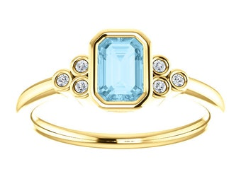 Emerald Cut Aquamarine Diamond Ring, 14K Gold Gemstone Ring, March Birthstone