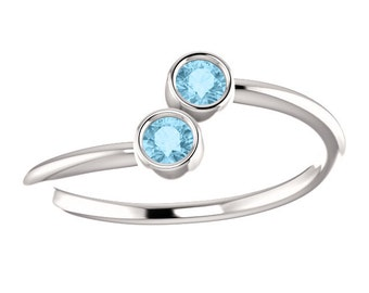 Aquamarine 14k White, Yellow, or Rose Gold, Stacking Ring, Made to Order, Dual Stone, March Birthstone