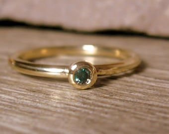 18K Gold Blue Diamond Promise Ring, Size 6, Mini Diamond Stacking Ring, Ready to Ship, Minimalist,