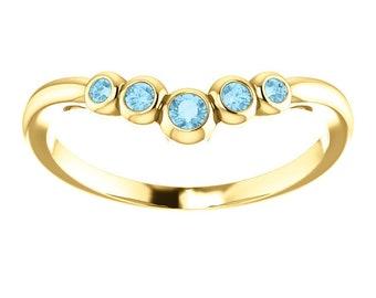 Aquamarine 14K Gold, Graduated Contour Band, Birthstone Ring