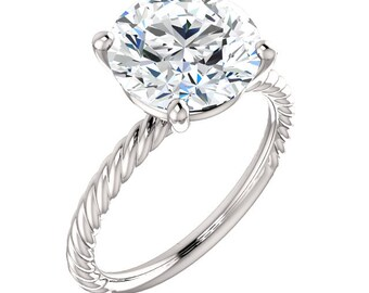 """Moissanite 14K Gold Ring, """"Forever Brilliant"""" Bella Ring, Non Traditional Engagement, Prong, Rope Band, Made to Order"""