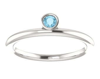 Aquamarine Asymmetrical 14K Gold Stackable Ring, March Birthstone, Slim Band