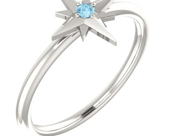 Birthstone Ring, Aquamarine, .925 Sterling Star Stacking Ring, March Birthstone