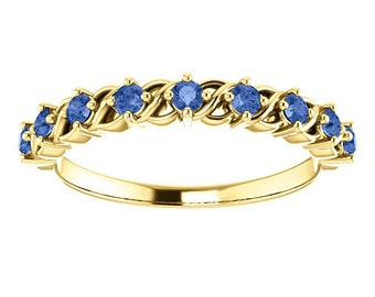 Ceylon Blue Sapphire Stacking Ring, 14K Gold Anniversary Band