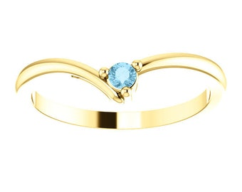 "Dainty Aquamarine ""V"" Ring, 14K Gold, Diamond Contour Band, 18K Gold Stacking Ring, March Birthstone, MiShelli"
