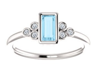 Aquamarine Baguette Diamond Ring, 14K Gold Gemstone Ring