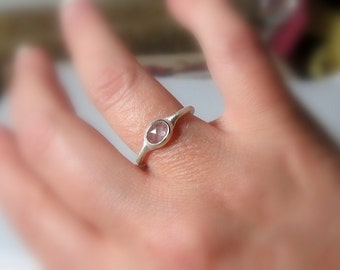 Natural White Sapphire Ring, Size 5.75, Sterling Silver, Ready to Ship, Rose cut, Rustic, low profile