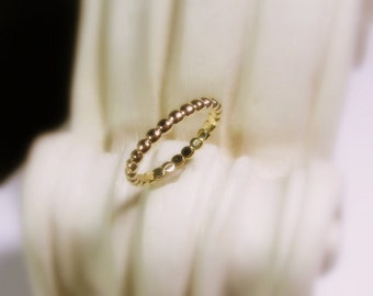 Wedding Band 14K Gold, Women, Dotted Stacking Ring, Yellow, White, and Rose Gold, Made to Order