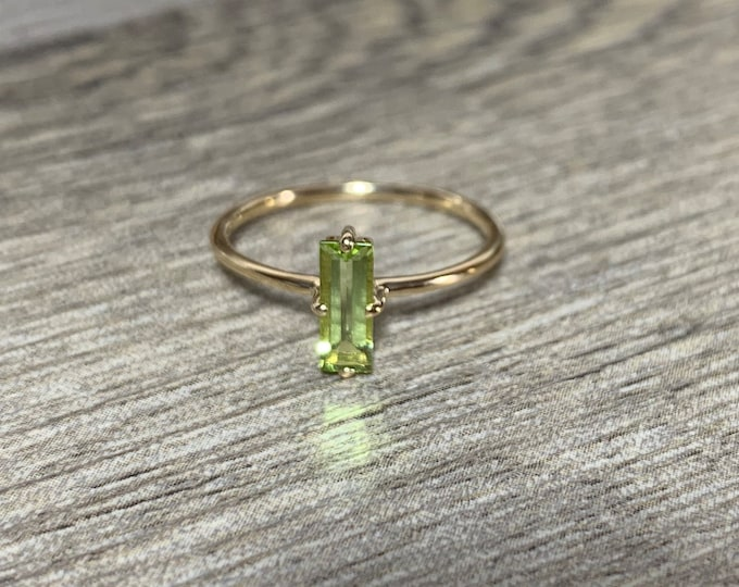 Featured listing image: 14K Gold Peridot Baguette Ring, Birthstone Ring, Stackable, Slim Band, 14K Yellow Gold Statement Ring, Gifts for Her