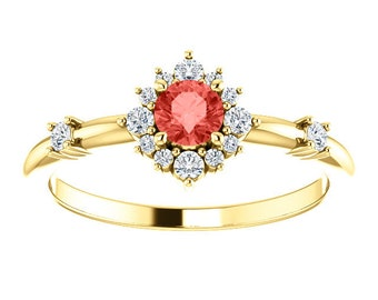 Padparadscha Chatham Sapphire Diamond Halo Ring, 14k Gold, Non Traditional Wedding