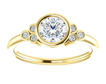 "Moissanite Diamond 14K Gold Ring, ""Forever One"""