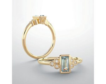 Aquamarine Baguette Gemstone Diamond Ring, 14K Gold Gemstone Ring