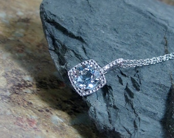 Blue Topaz  Diamond Pendant Sterling Silver Necklace, Petite Diamonds