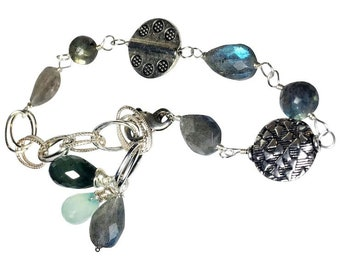 Natural Labradorite, Moss Aquamarine, Aqua Chalcedony, Sterling Silver Wire Wrapped Bracelet, Hand Linked, Bali Silver
