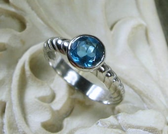 Blue Topaz Ring, Size 6, Sterling Silver Solitaire Bezel, Ready to Ship