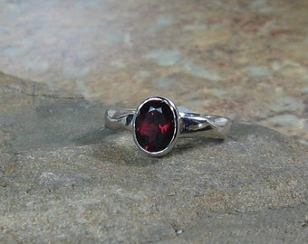 Oval Garnet Solitaire Sterling Silver Ring, Size 5.75, Wide Wavy Band, Ready to Ship, OOAK