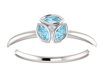 Aquamarine Gemstone Ring, March Birthstone, Slim Band, Diamond Accent, Stackable Ring, Marquise Gemstone